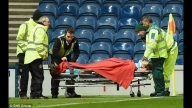 Rangers goalkeeper Simonsen taken to hospital after colliding with the post