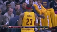 LeBron James pushes coach David Blatt while arguing foul call: Cleveland Cavaliers at Phoenix Suns