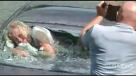 Incredible Moment Policemen Rescue Trapped Woman From Sinking BMW in Auckland, New Zealand