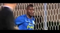 Guangzhou R F striker Jeremy Bokila missed an open goal v Changhcun Yatai in China