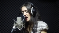Banu Shujai recording a cover (Justin Timberlake - Cry me a river)  in the studio